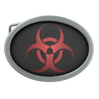 Zombi del símbolo del Biohazard rojo y negro Hebilla Cinturón Oval