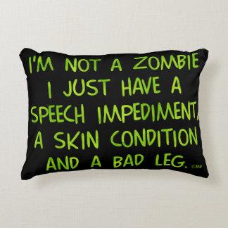 Zombi divertido no un verde del zombi cojín decorativo
