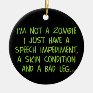 Zombi divertido no un verde del zombi adorno redondo de cerámica