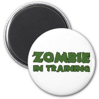 Zombi en el entrenamiento imán redondo 5 cm