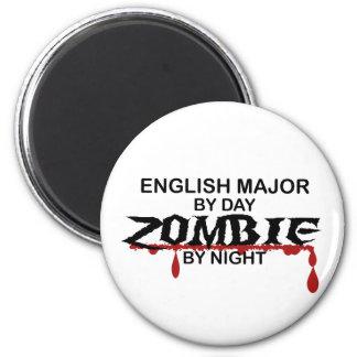 Zombi importante inglés imán redondo 5 cm
