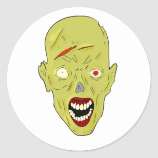 zombi marcado con una cicatriz amarillo etiqueta redonda