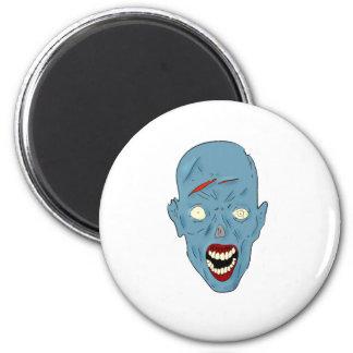 Zombi marcado con una cicatriz azul imán redondo 5 cm