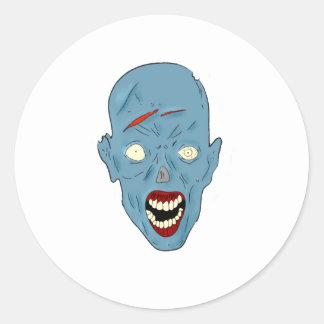 Zombi marcado con una cicatriz azul pegatina redonda