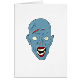Zombi marcado con una cicatriz azul tarjeta de felicitación