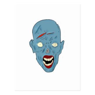 Zombi marcado con una cicatriz azul tarjetas postales