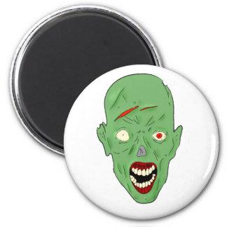 Zombi marcado con una cicatriz verde imán redondo 5 cm
