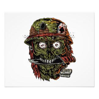 zombi militar con el cuchillo en boca cojinete