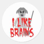 Zombi Minifig 'tengo gusto de los cerebros Pegatinas Redondas