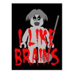 Zombi Minifig 'tengo gusto de los cerebros Tarjetas Postales