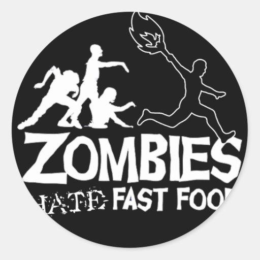 Zombi-Odio-Rápido-Comida-Negro Pegatina Redonda