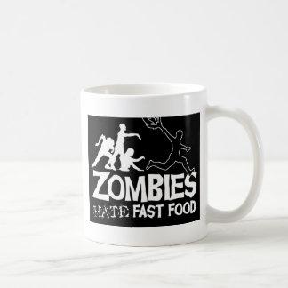 Zombi-Odio-Rápido-Comida-Negro Taza Básica Blanca