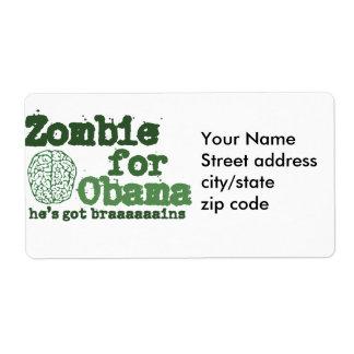Zombi para Obama Etiquetas De Envío
