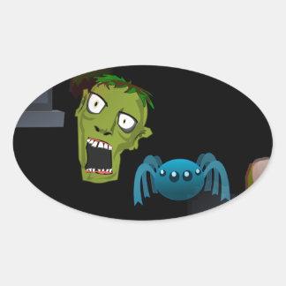 zombi pegatina ovalada