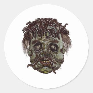zombi principal del gusano pegatina redonda