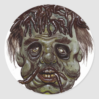 zombi principal del gusano etiqueta redonda