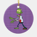 zombi que camina adorno navideño redondo de cerámica