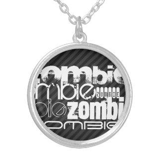 Zombi; Rayas negras y gris oscuro Colgante Redondo