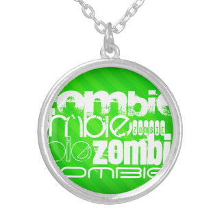Zombi; Rayas verdes de neón Colgante Redondo