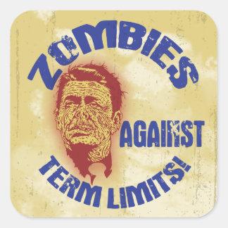 Zombi Reagan - límites de mandato Calcomanía Cuadrada Personalizada