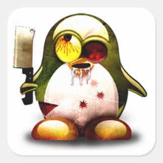 Zombi Tux (Linux Tux) Pegatina Cuadrada