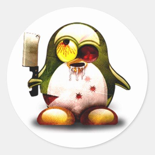 Zombi Tux (Linux Tux) Pegatina Redonda