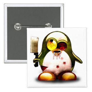 Zombi Tux (Linux Tux) Pin Cuadrado