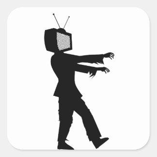 Zombi TV Pegatina Cuadrada