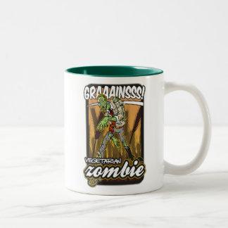 Zombi vegetariano taza de café de dos colores