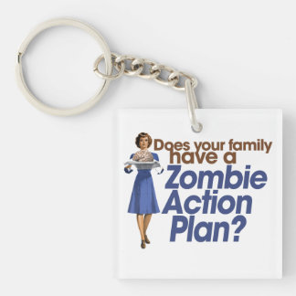 Zombie Action Plan Double-Sided Square Acrylic Keychain