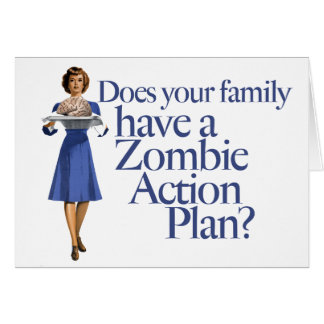 Zombie Action Plan Vintage Style Card