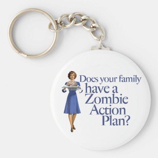 Zombie Action Plan Vintage Style Basic Round Button Keychain