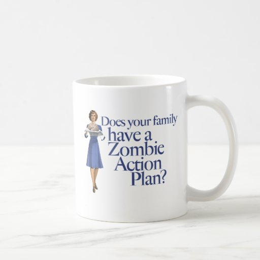 Zombie Action Plan Vintage Style Mugs