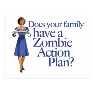 Zombie Action Plan Vintage Style Postcard