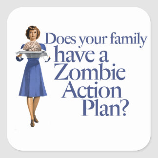 Zombie Action Plan Vintage Style Square Sticker