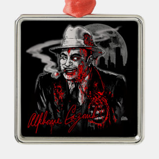 Zombie Al Capone (mature) Square Metal Christmas Ornament
