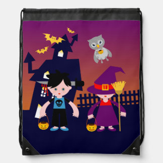 Zombie and witch kids go trick or treating drawstring bag