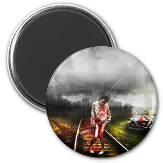 Zombie apocalypse artistic illustration 2 inch round magnet