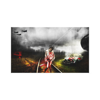 Zombie apocalypse artistic illustration stretched canvas print