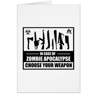 Zombie Apocalypse Choose Your Weapon Card
