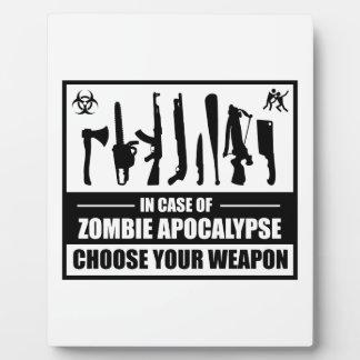 Zombie Apocalypse Choose Your Weapon Photo Plaques