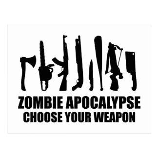 Zombie Apocalypse Choose Your Weapon Postcard