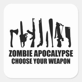 Zombie Apocalypse Choose Your Weapon Square Sticker