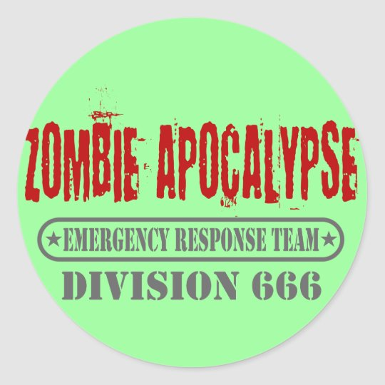Zombie Apocalypse Division 666 Classic Round Sticker