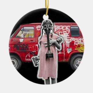 Zombie Apocalypse, Doomsday Girl with Handgun Ceramic Ornament