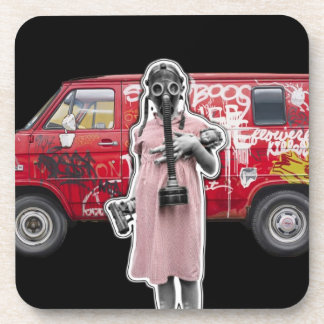 Zombie Apocalypse, Doomsday Girl with Handgun Drink Coaster