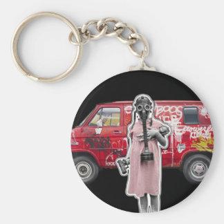 Zombie Apocalypse, Doomsday Girl with Handgun Keychain