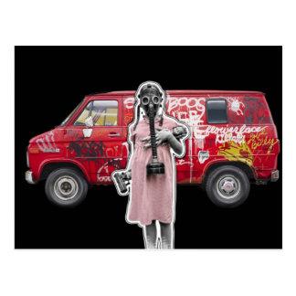 Zombie Apocalypse, Doomsday Girl with Handgun Postcard