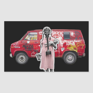 Zombie Apocalypse, Doomsday Girl with Handgun Rectangular Sticker
