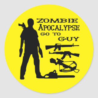 Zombie Apocalypse Go To Guy Weapon, Crossbow, Guns Classic Round Sticker
